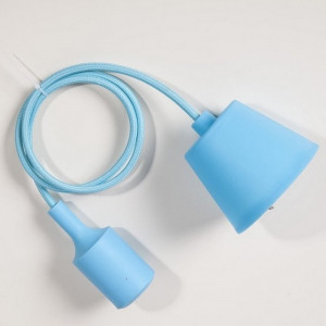 Suspension silicone bleu ciel E27