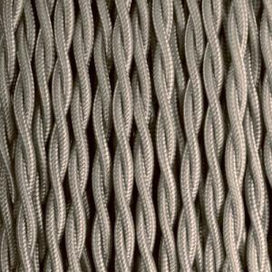 Câble textile taupe torsadé
