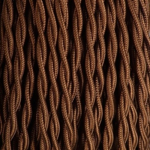 Câble textile marron torsadé