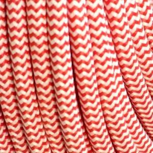 Câble textile rouge et blanc