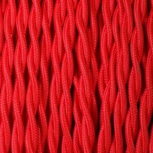 Câble textile rouge torsadé