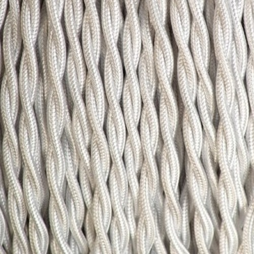 Câble textile blanc torsadé