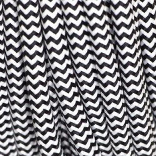 Câble textile noir et blanc