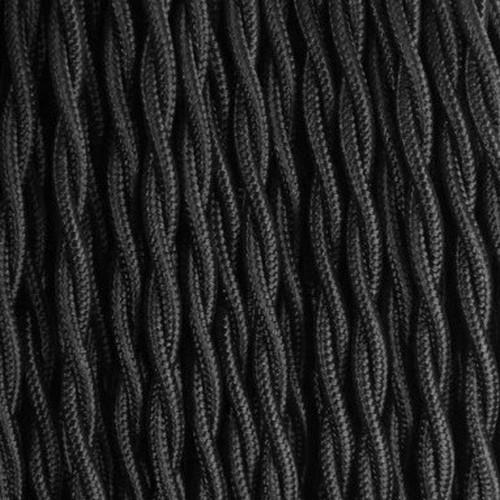 Câble textile noir torsadé