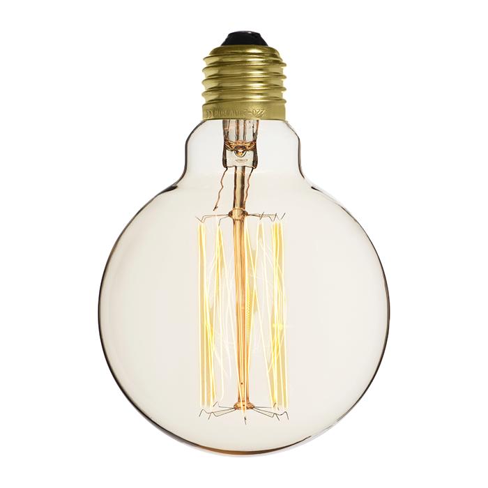 Ampoule déco vintage Portland blanche 95mm, 60W, E27